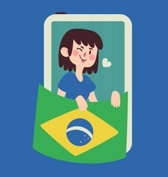 Winking girl holding a brazilian flag vector