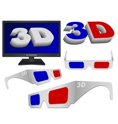 3d sign glasses and tv vector image vector image