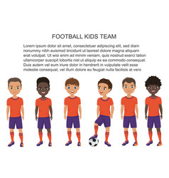 cartoon school football soccer kids team in vector image