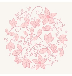 Circle made of flowers vector image