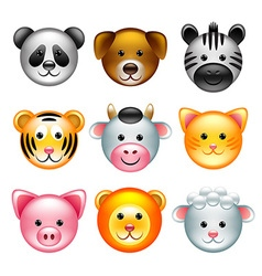 Funny animal faces icons set vector image