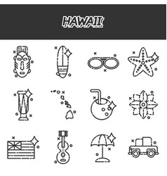hawaii flat icons set vector image