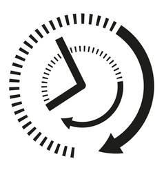 icon clock hands in black and white vector image vector image