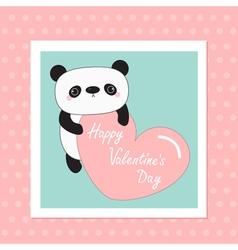 Kawaii panda baby bear Happy Valentines Day White vector image vector image