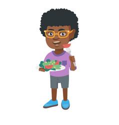 Little african-american boy eating vegetable salad vector