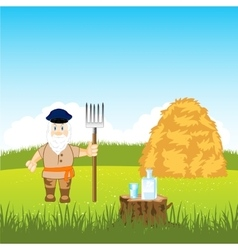 Man stores up hay vector