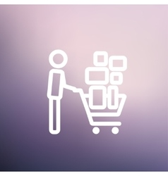 Shopping cart full of shopping bags thin line icon vector image