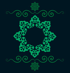 ethnic floral seamless pattern in green color vector image vector image