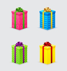four unopened gift boxes with ribbons and bows vector image