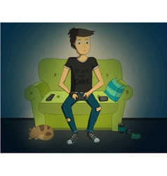 Gamer sitting at home at night and playing video vector image vector image