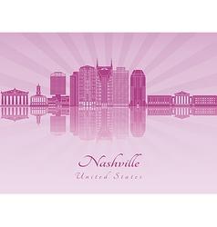 Nashville skyline in purple radiant orchid vector image
