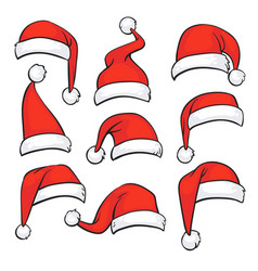 santa red hats with white fur isolated christmas vector image
