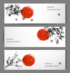 three banners with sun maple bamboo and sakura vector image vector image