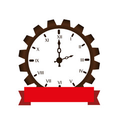 Gear machine with watch isolated icon vector