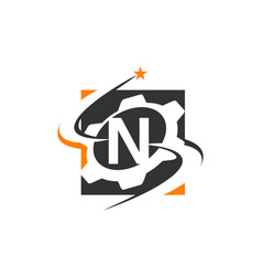 Gear solution logo letter n vector