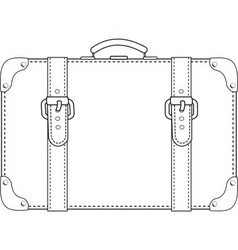 leather suitcase contour vector image vector image