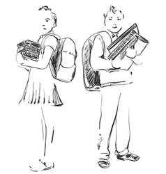 school children boy and girl vector image