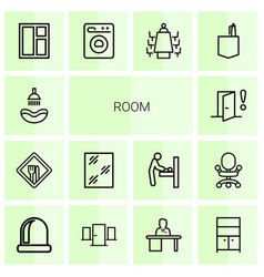 14 room icons vector