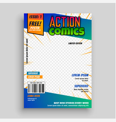 Action comic book cover page design vector