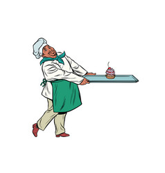 african chef cook brings a tray dessert cupcake vector image