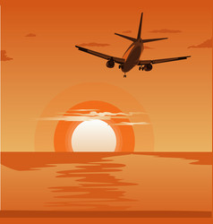 airplane flying above tropical sea at sunset vector image