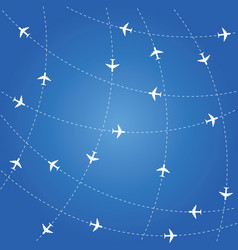 airplane routes on blue background vector image