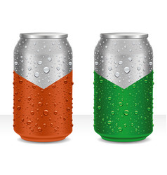 Aluminumcans in brown and green with water drops vector