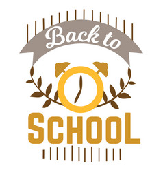 back to school logo with clock and ribbon vector image