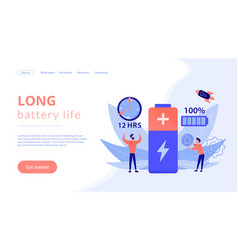 Battery runtime concept landing page vector