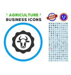 Beef certificate rounded icon with set vector