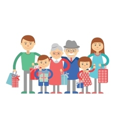 Big family isolated on white vector image