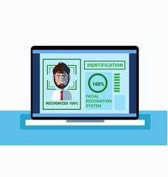 biometrics system of protection laptop scanning vector image