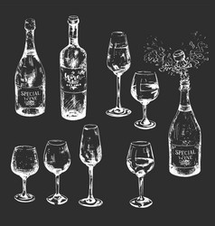 Black and white hand-drawn wine set with glasses vector