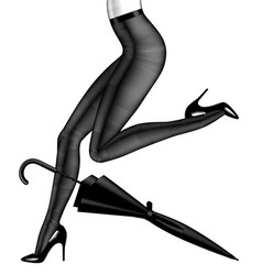 Black umbrella and naked legs woman in black vector