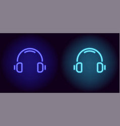 blue and light-blue neon headphones vector image