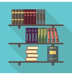 Bookshelf with many books vector image