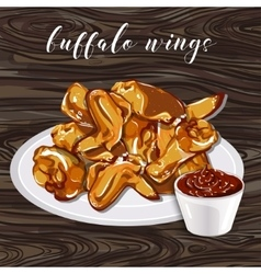 Buffalo wings and barbecue sauce on wood a vector image