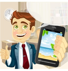 Business man in office shows a photo resort on the vector