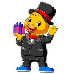 Cartoon duck in full suit and holding gift vector