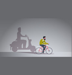 casual guy riding bike shadow man on motor vector image