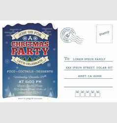 Christmas party postcard invitation template vector image