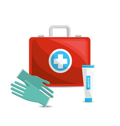 Color healthcare hospital gloves and toothpaste vector