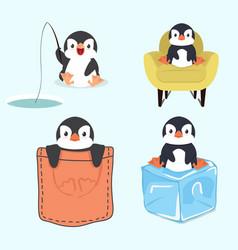 cute little penguin set vector image
