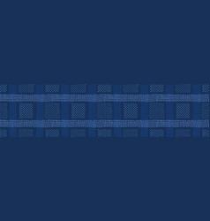 Dark blue denim linen border pattern vector