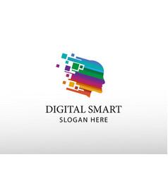 Digital smart logo face logo head creative logo vector