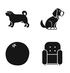 dog puppy and other web icon in black style vector image