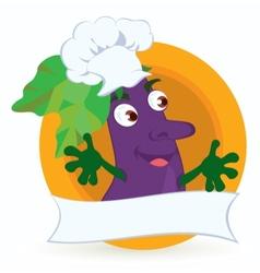 Eggplant cartoon character with promo ribbon vector image