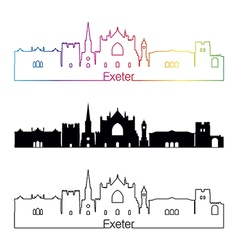 Exeter skyline linear style with rainbow vector image