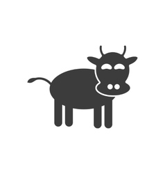 Flat icon in black and white style cow vector