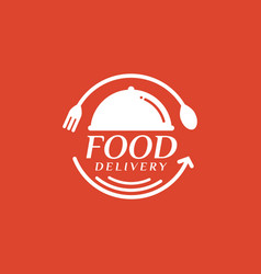 Food delivery on red background vector